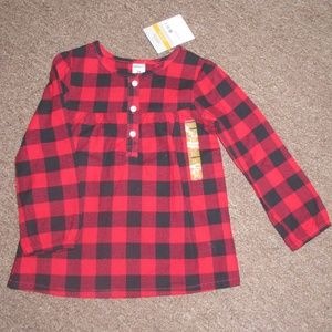 3T Carters Red Black Plaid Buffalo Check Top Shirt